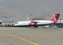 2015-08-31 Qeshm Airlines RJ-100 nosegear-up landing at Tehran