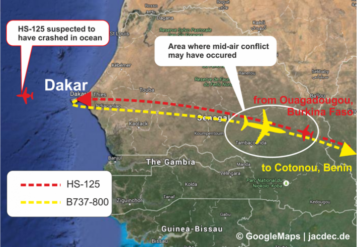 2015-09-05 Ceiba 737-800 mid-air collision with HS-125 Jet over Senegal