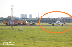 2015-09-30 Loganair SF-340 ran off runway on emr landing at Rotterdam