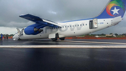 2015-10-06 Starbow BAe 146 nosegear collapse on landing at Tamale