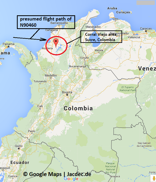 2016-01-17_UNK_BN2A_@Colombia_drug flight_MAP