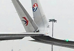 2016-01-27 two China Eastern Airbus damaged in ground collision at Shanghai