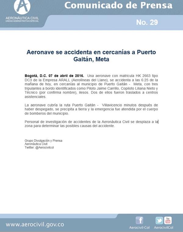 2016-04-07_HK-2663_DC3_Arall@Puerto Gaitan_Aerocivil