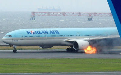 2016-05-27 Korean Air Boeing 777-300 engine fire at Tokyo-Haneda