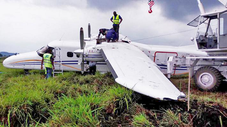 2016-06-21 Busy Bee Dornier Do228 off runway at Goma, DR Congo
