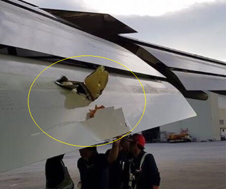 2016-07-18 Eva Air Boeing 747 damaged by asphalt fragments at Manila