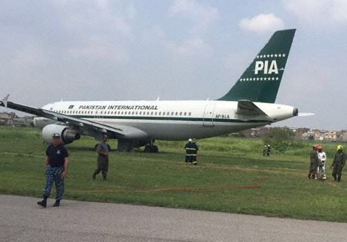 2016-08-08 PIA Airbus A320 off runway at Islamabad due engine failure