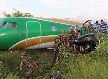 2016-09-24 Yeti Airlines Jetstream overrun accident at Bhairahawa