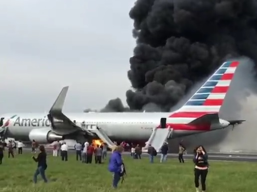 2016-10-28 American AL B763 on fire during take-off at Chicago O'Hare Airport