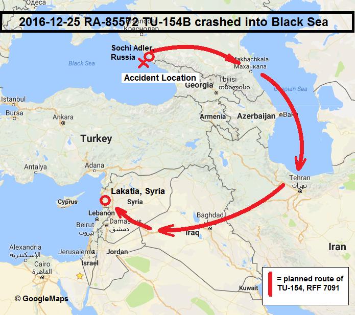 20161225 Russian Military Tupolev Tu154 crashed into Black Sea