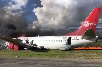 2017-03-28 Peruvian AL Boeing 737-300 landing accident at Jauja
