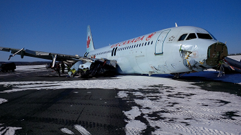 2015-03-29 Air Canada Airbus A320 badly damaged on landing at Halifax